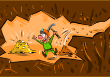 Drawing of miner finding gold like finding your real estate investing deals